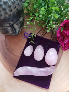 Rose Quartz Crystal Yoni Egg & Curved Yoni Wand Set