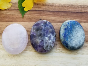 Three Piece Crystal Palm Stone