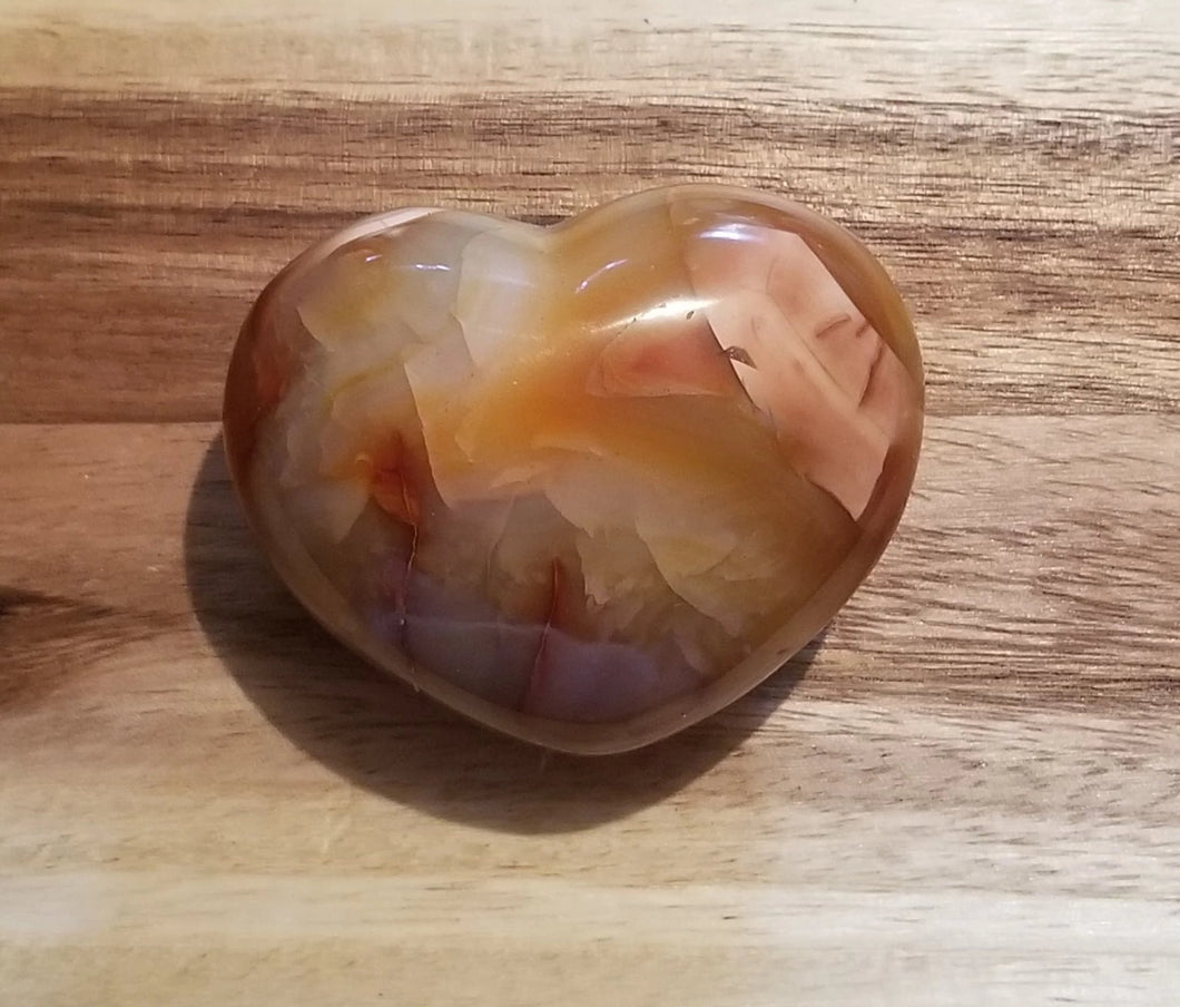 Carnelian Agate Puffy Heart