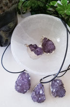 Raw Amethyst Cluster Pendant with Silver Plated Necklace