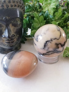 Pink Zebra Calcite Crystal Sphere & Palm Stone Set