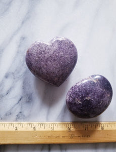 Lilac Lepidolite Crystal Heart & Palm Stone Set