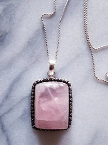 Rose Quartz Necklace with Sterling Silver Chain