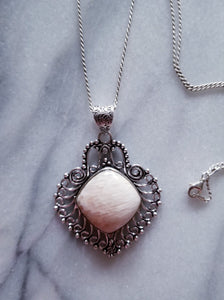 Scolecite Necklace with Sterling Silver Chain