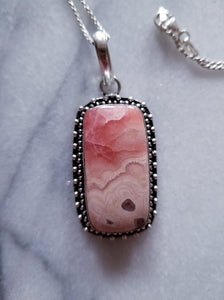 Rhodochrosite Necklace with Sterling Silver Chain