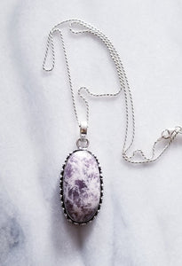 Lepidolite Necklace with Sterling Silver Chain