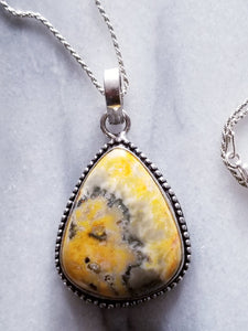 Bumble Bee Jasper Necklace with Sterling Silver Chain