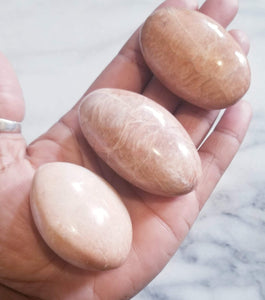 Peach Moonstone Palm Stone