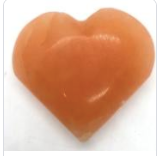 Orange Selenite Puffy Heart Small
