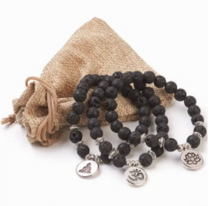 Lava Bead Stretch Bracelet 3 Pcs Set