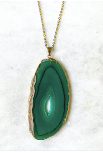 Gold Plated Greene Agate Pendant Necklace