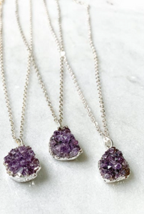 Petite Raw Amethyst Cluster Pendant with Silver Plated Necklace