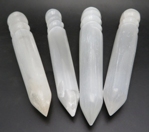 Polished Selenite Spiral Healing Wand Point