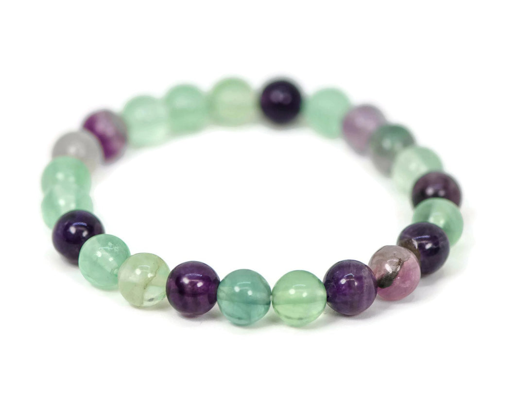 8mm Rainbow Fluorite Stretch Bracelet
