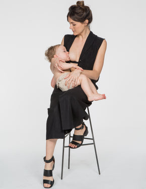 Chapter Goods | Breastfeeding-Friendly Clothes | Column Dress in Black Ink (Black Linen)