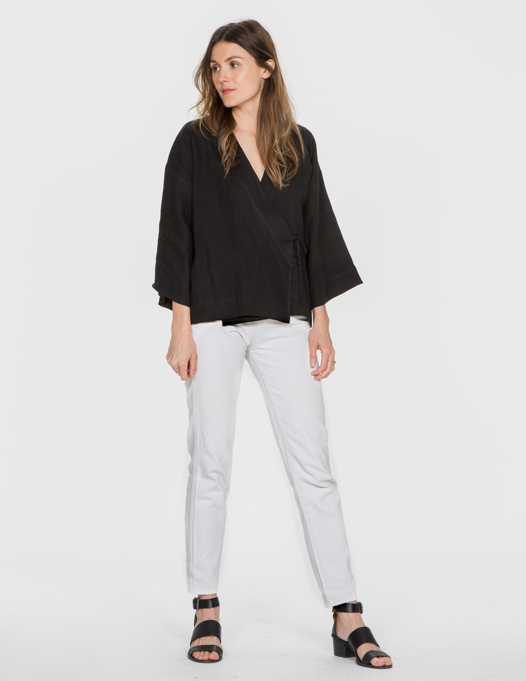 Chapter Goods | Breastfeeding-Friendly Clothes | Kimono Top in Black Ink (Black Linen)