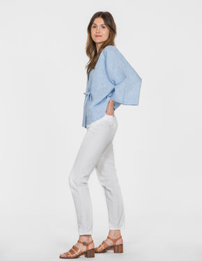 Chapter Goods | Breastfeeding-Friendly Clothes | Kimono Top in Sky (Blue Linen)