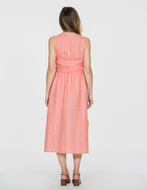 Chapter Goods | Breastfeeding-Friendly Clothes | Wrap Dress in Coral Stripe (Coral Linen)