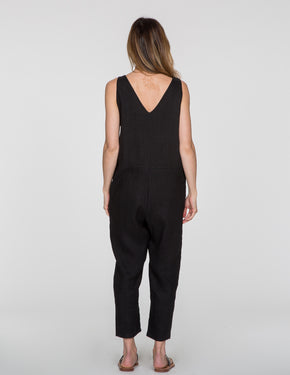 Chapter Goods | Breastfeeding-Friendly Clothes | Snap Back Jumpsuit in Black Ink (Black Linen)