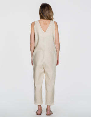 Chapter Goods | Breastfeeding-Friendly Clothes | Snap Back Jumpsuit in Cream (Cream Linen)