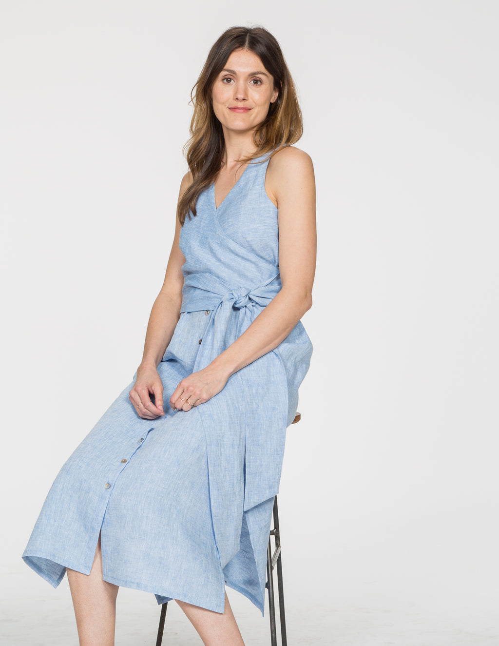 Chapter Goods | Breastfeeding-Friendly Clothes | Wrap Dress in Sky (Blue Linen)