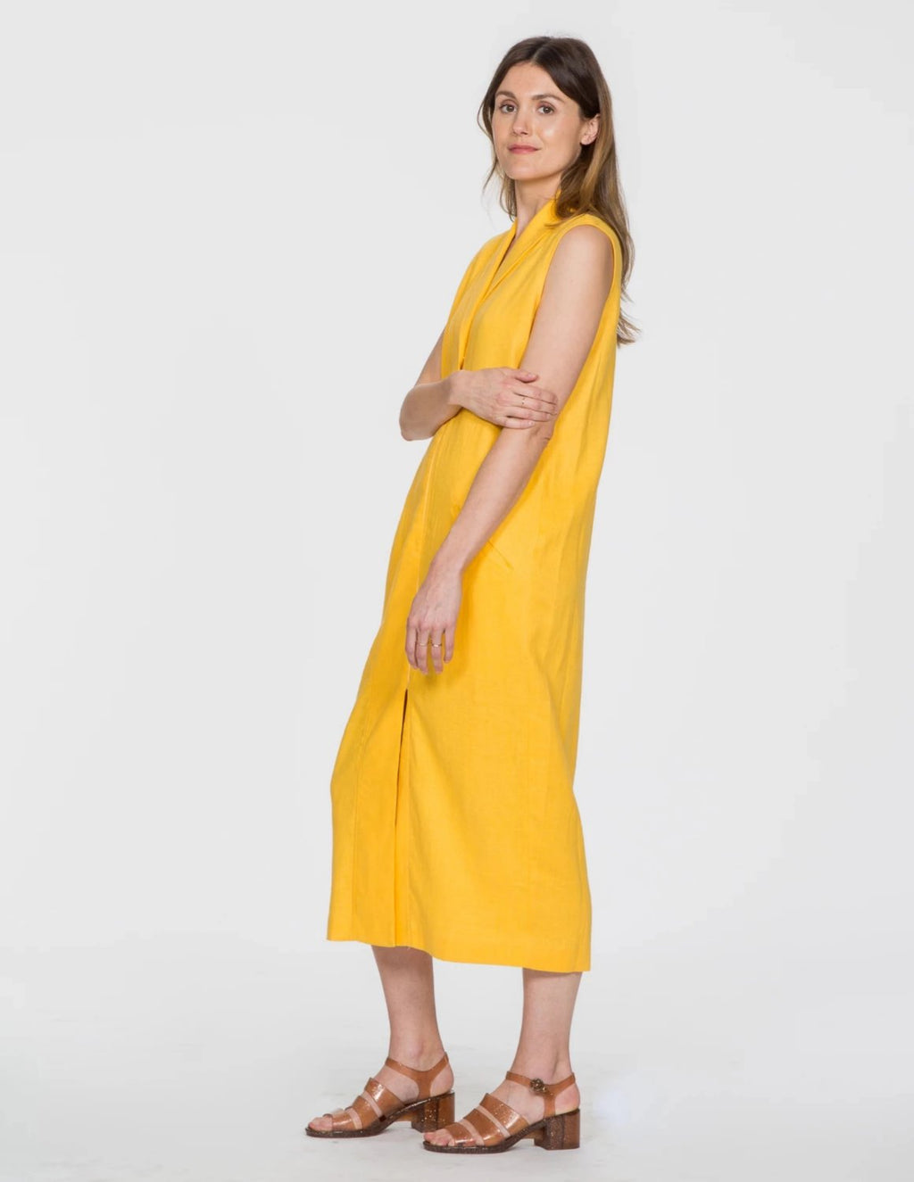 Chapter Goods | Breastfeeding-Friendly Clothes | Column Dress in Lemon (Yellow Linen)
