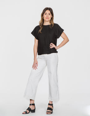 Chapter Goods | Breastfeeding-Friendly Clothes | Box Top in Black Ink (Black Linen)