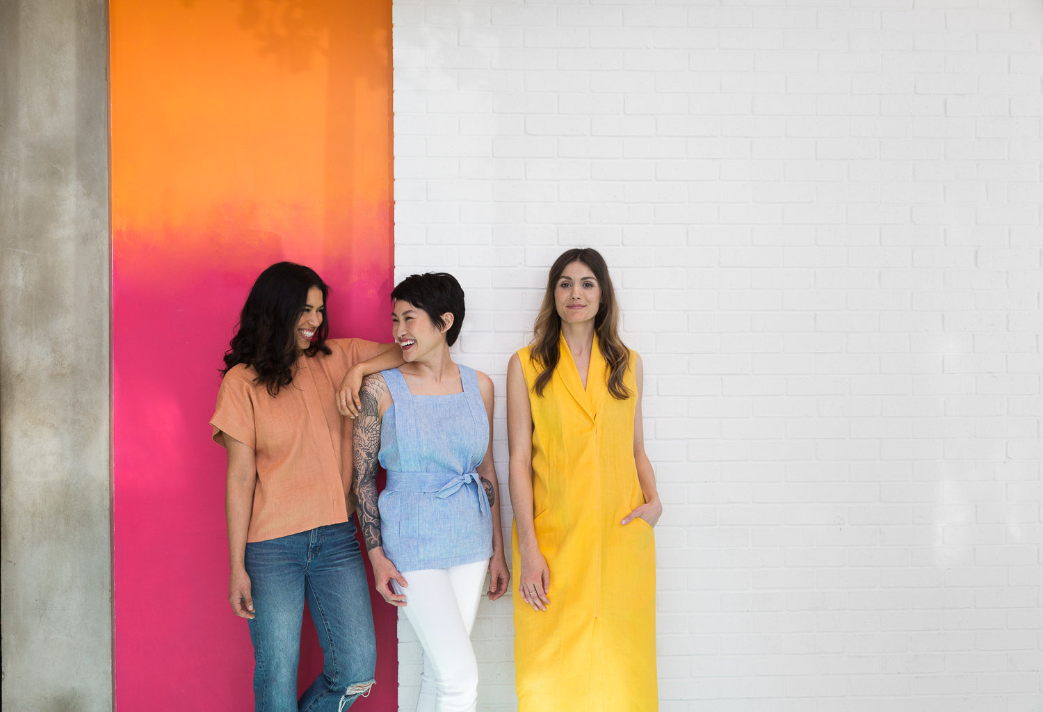 Chapter Goods | Breastfeeding-Friendly Clothes | Apron Top in Sky, Column Dress in Lemon, Box Top in Terracotta