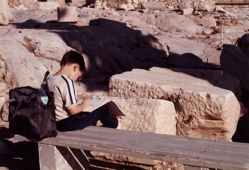 Young Rob Kaz sketching in Greece.