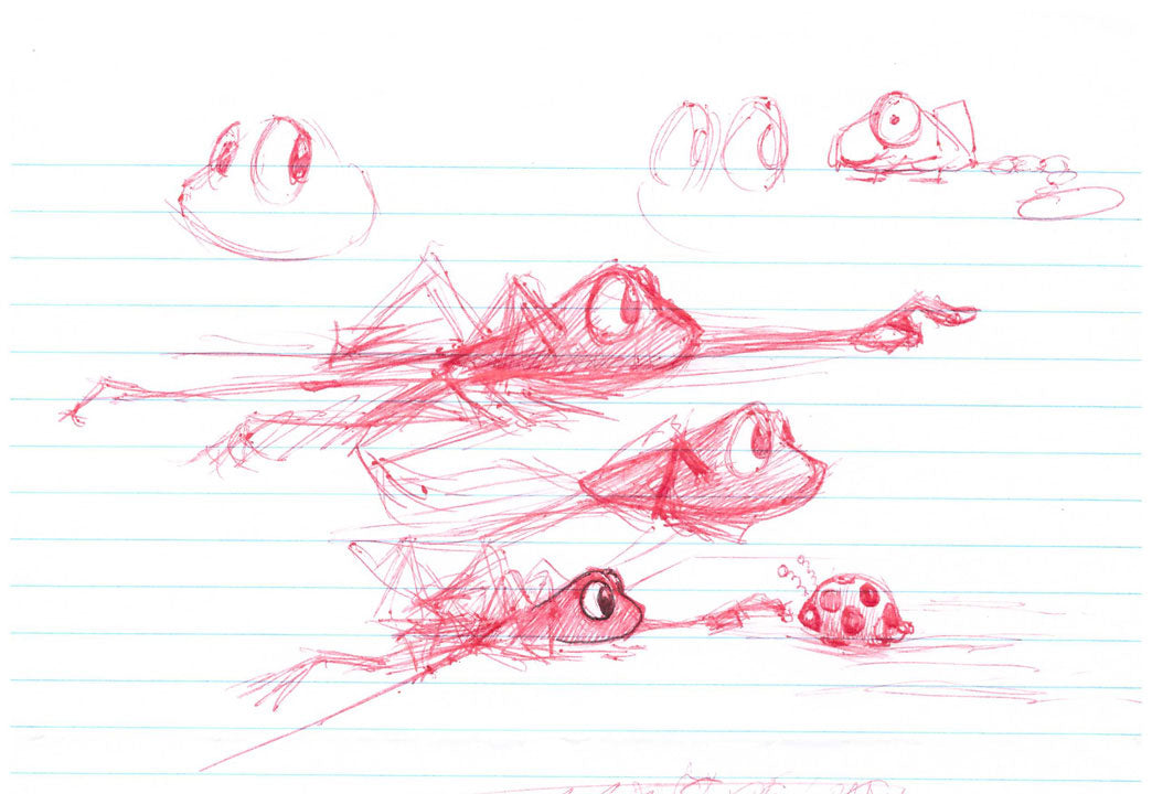 Rob Kaz sketches his frog named Beau (Beauregard).