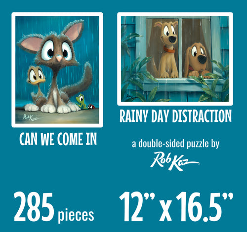 Double-Sided Fine Art Puzzles by Rob Kaz - Rain, 285 pieces