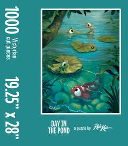 Victorian-Cut Fine Art Puzzle by Rob Kaz - Day In The Pond, 1000 pieces