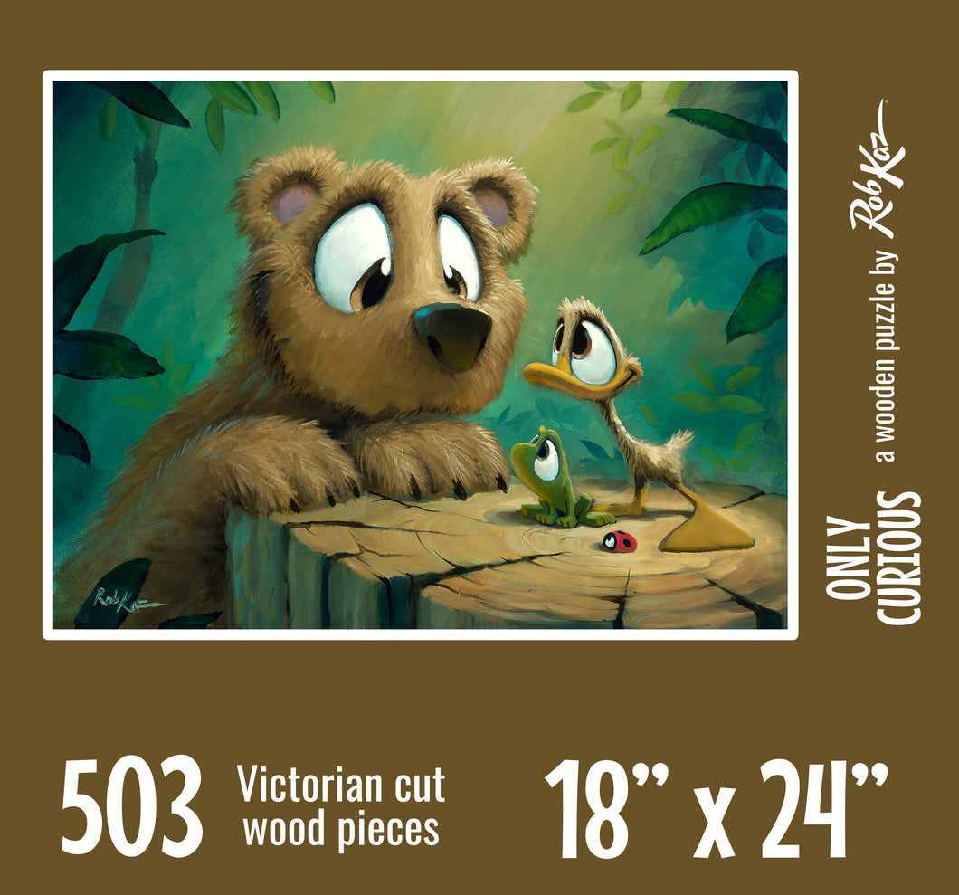 Victorian-Cut Wooden Fine Art Puzzle by Rob Kaz - Bear Buddies, 503 pieces