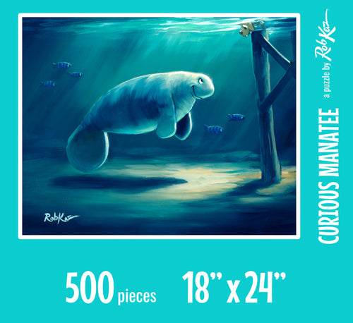 Fine Art Puzzles by Rob Kaz - Curious Manatee, 500 pieces