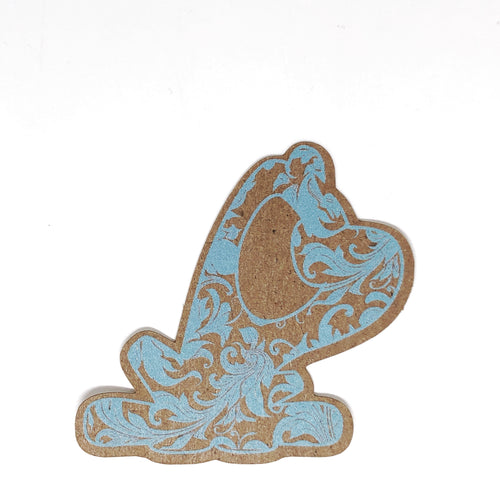 Stickers: Beau, in silhouette on kraft with paisley pattern