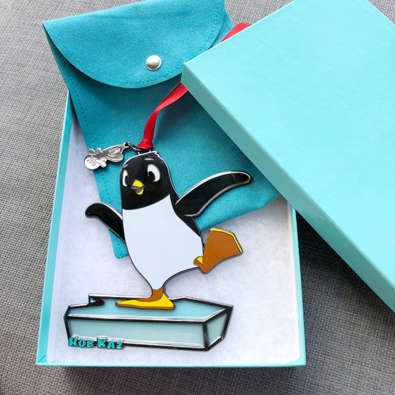 2019 Holiday Ornament - Penny Penguin on Stained-Glass Ice!
