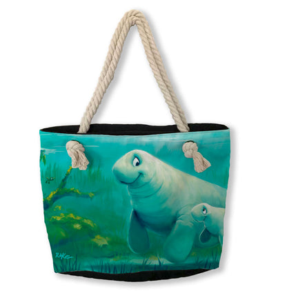 Tote Bag, Mother Daughter Swim (manatee)