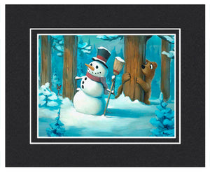 Snowman Meets Bear - Matted Print, 11x14