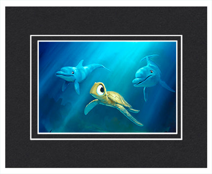 Undersea Play - Matted Print, 11x14