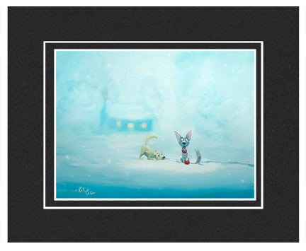 Snowy Game - Matted Print, 11x14