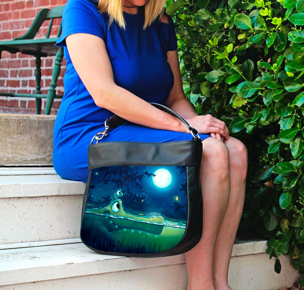 Handbag featuring Moonlight Friends by Rob Kaz, bag
