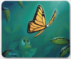 Mousepad featuring art by Rob Kaz - Flutter By