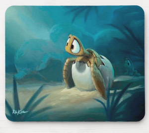 Mousepad featuring art by Rob Kaz - Hatchling Honu