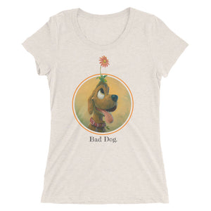 Ladies' short sleeve t-shirt, Trouble the dog by artist Rob Kaz