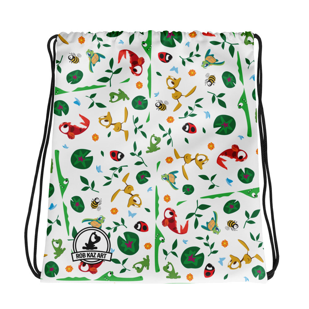Friends Along The Way drawstring bag by Rob Kaz