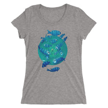 Ladies' short sleeve t-shirt, featuring Feeling Blue from artist Rob Kaz