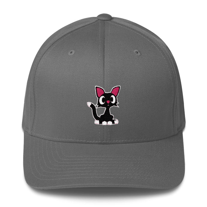 Flexfit structured twill cap with Stormy the black cat