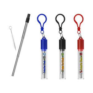 Telescoping Stainless Steel Straw w/Case & Carabiner, 3 colors of straws available