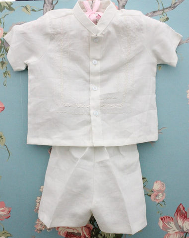 Penelope Baptismal Gowns Rami Top Bottom Set