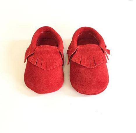 Ben And Adam Baby Moccasins Suede Velvet Red